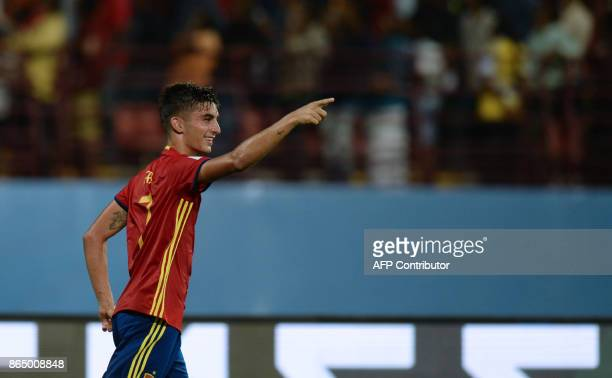 Ferran Torrres of Spain celebrates after scoring a goal against Iran during their quarterfinal football match of the FIFA U17 World Cup at the...