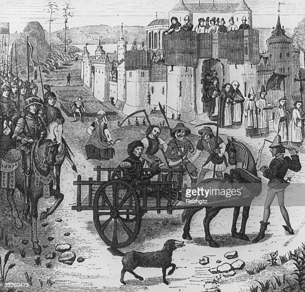 Ferrand Count of Flanders is taken in a cart to imprisonment in the old Louvre Paris after the Battle of Bouvines France 1214 Ferdinand was one of...