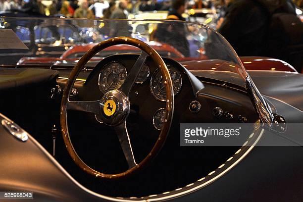 ferrari 166 mm barquette interior at the classic car show - ferrari stock photos and pictures