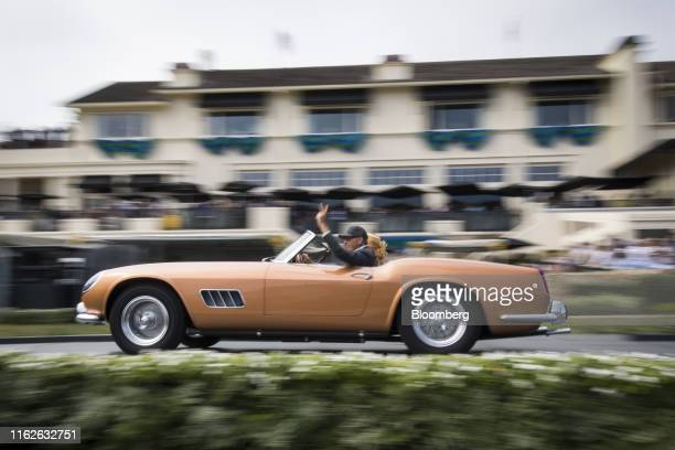 Ferrari 250 GT Scaglietti Spyder California is driven onto the winners ramp during the 2019 Pebble Beach Concours d'Elegance in Pebble Beach,...