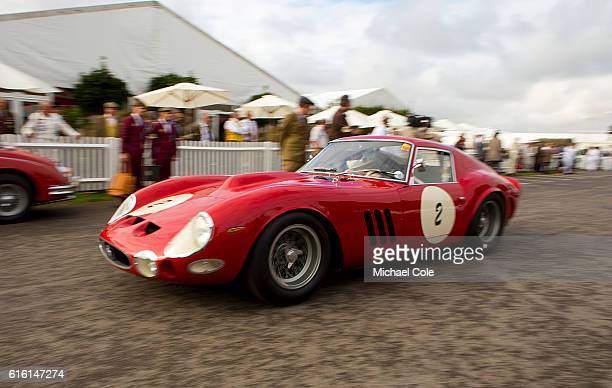 Ferrari 330 GTO owned by Scuderia del Viadotto and driven by Lukas Huni and Carlo Vogele leaves the Assembly Area for The Kinrara Trophy Race at the...