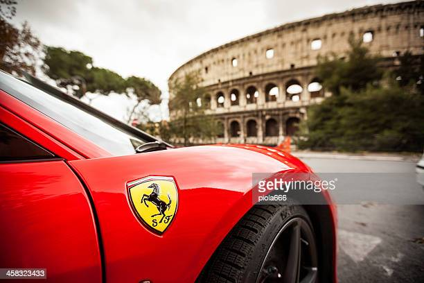 ferrari 458 italia and coliseum, in rome - ferrari stock pictures, royalty-free photos & images