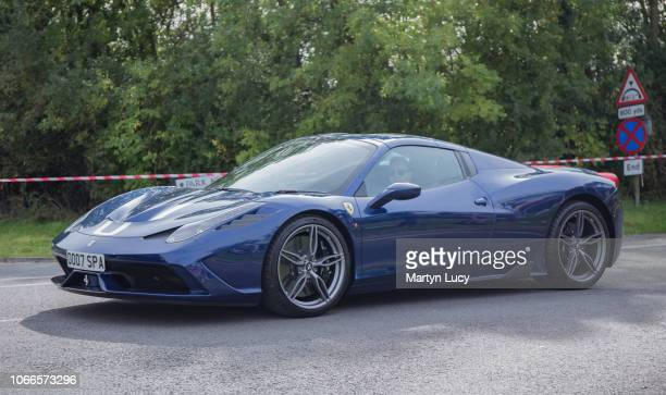 Ferrari 458 Speciale leaves The Sharnbrook Hotel after attending their Supercar Sunday Event The Sharnbrook Hotel hosts the event annually raising...