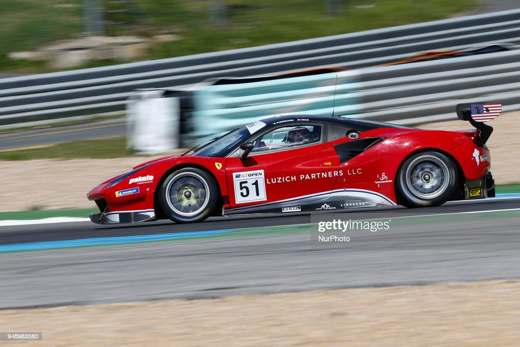 Ferrari 488 GT3 of Luzich Racing driven by Alessandro Pier Guidi and Mikkel Mac during Race 1 of International GT Open, at the Circuit de Estoril, Portugal, on April 14, 2018.