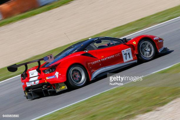 Ferrari 488 GT3 of Luzich Racing driven by Alexander West and Michele Rugolo during Race 1 of International GT Open at the Circuit de Estoril...