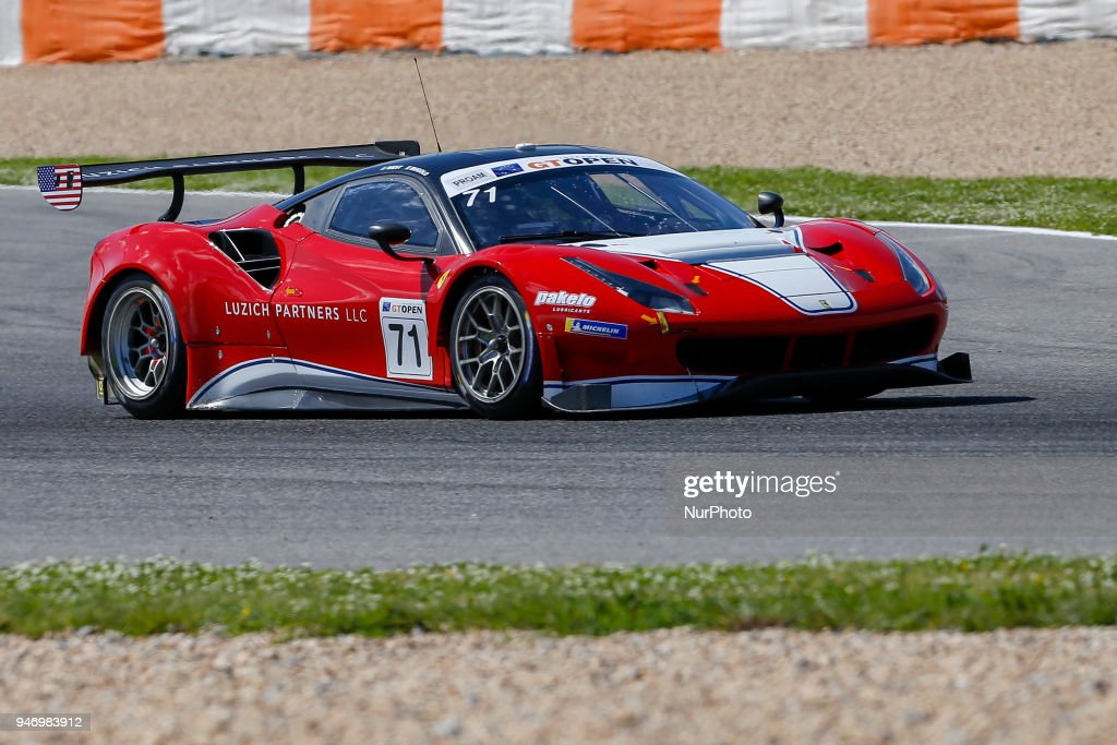 Ferrari 488 GT3 of Luzich Racing driven by Alexander West and Michele Rugolo during Race 1 of International GT Open, at the Circuit de Estoril, Portugal, on April 14, 2018.
