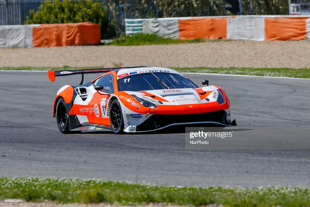 Ferrari 488 GT3 of RS Racing driven by Daniele Di Amato and Andrea Montermini during Race 1 of International GT Open, at the Circuit de Estoril, Portugal, on April 14, 2018.