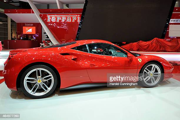 Ferrari 488 GTB is displayed at the Geneva International Motor Show on March 2, 2015 in Geneva, Switzerland. The 85th International Motor Show held...