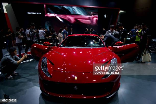 A Ferrari 488 GTB is presented during the first day of the 17th Shanghai International Automobile Industry Exhibition in Shanghai on April 19 2017i...