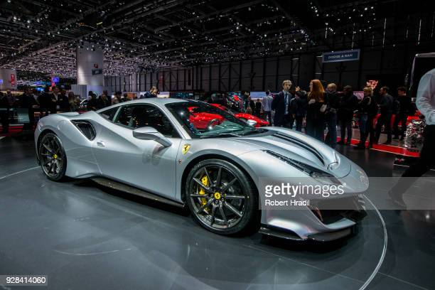 Ferrari 488 Spider is displayed at the 88th Geneva International Motor Show on March 7 2018 in Geneva Switzerland Global automakers are converging on...