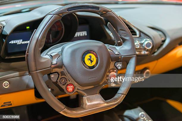 "ferrari 488 spider sports car steering wheel - ""sjoerd van der wal"" or ""sjo"" stock pictures, royalty-free photos & images"