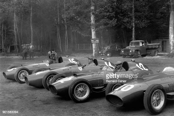 Ferrari 801 Grand Prix of France RouenLesEssarts 07 July 1957 The Ferrari 801 cars being warmed up in the French Grand Prix 'paddock'