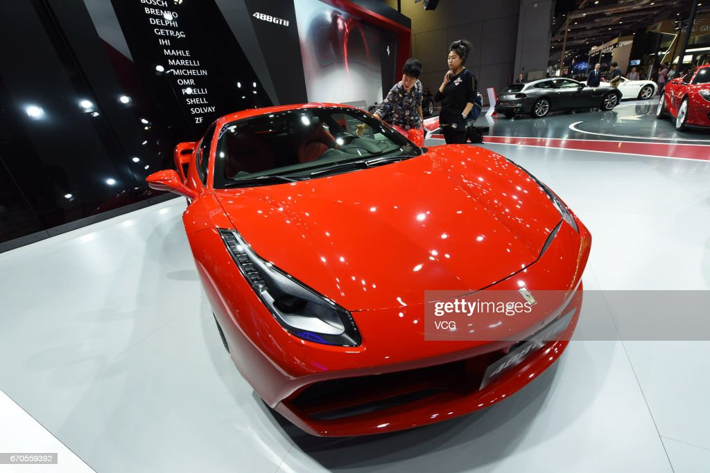 Ferrari 812 superfast car is exhibited at the booth of National Exhibition and Convention Center ahead of the 17th Shanghai International Automobile Industry Exhibition on April 20, 2017 in Shanghai, China. The 17th Shanghai International Automobile Industry Exhibition will be held at National Exhibition and Convention Center (Shanghai) from April 21 to April 28.