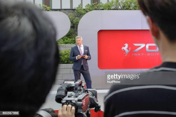 Ferrari Asia Director Dieter Knechtel speech addresses during an Ferrari 70th Anniversary event in Seoul's Hotel South Korea The biggest Ferrari...