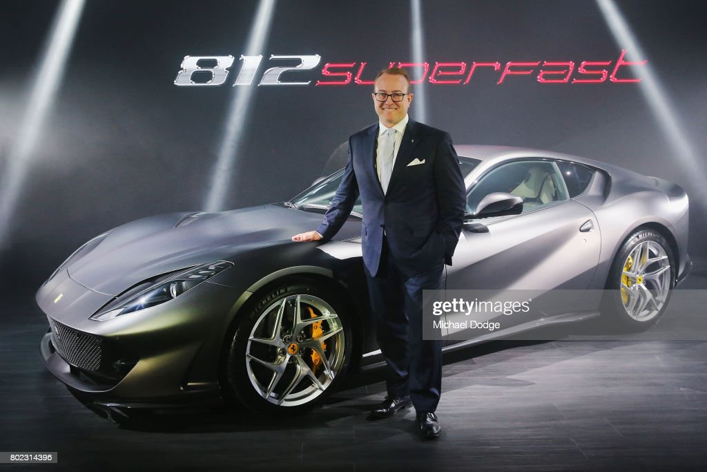 Ferrari Australia CEO Herbert Appleroth poses with the new Ferrari 812 Superfast at the Australasian Premiere on June 28, 2017 in Melbourne, Australia. The 812 Superfast is the most powerful and fastest Ferrari in the carmakers history, reaching 0-100 km/h in just 2.9 seconds.