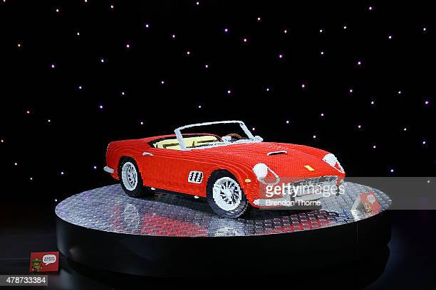 Ferrari built from lego is displayed at the Brick Man Experience The Complete Collection by Ryan McNaught made entirely of LEGO bricks at Sydney Town...