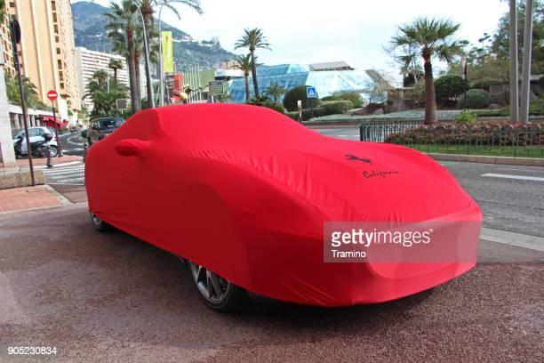Ferrari California covered by a cloth
