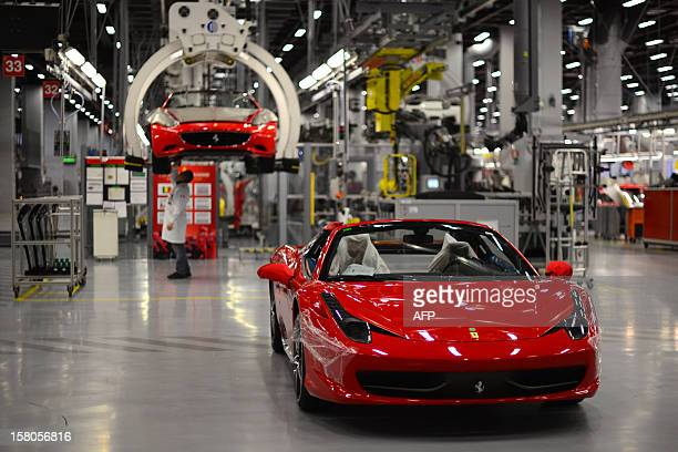 A Ferrari California is displayed at the end of the assembly line in the Ferrari factory on December 5 2012 in Maranello The Ferrari 45 buildings's...