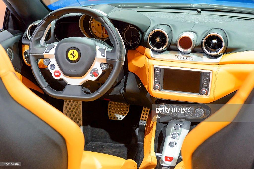 Ferrari California T Convertible Sports Car Interior Stock Photo ...