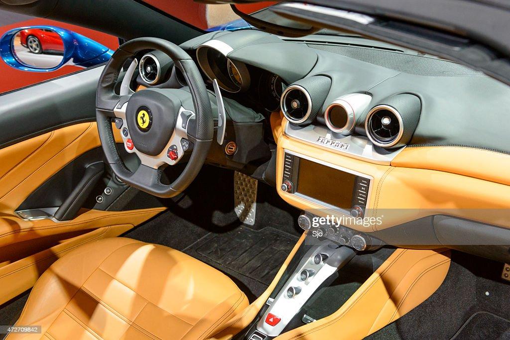 Ferrari California T Convertible Sports Car Interior Stock Photo