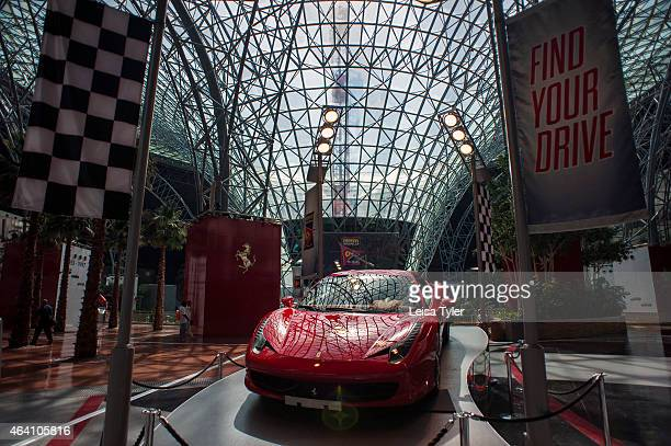 Ferrari car on display at Ferrari World a theme park on Abu Dhabi's Yas Island