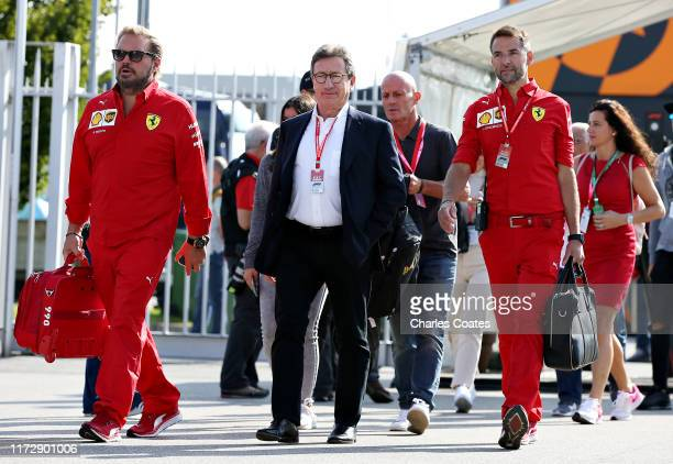 Ferrari CEO Louis C. Camilleri walks in the Paddock before final practice for the F1 Grand Prix of Italy at Autodromo di Monza on September 07, 2019...