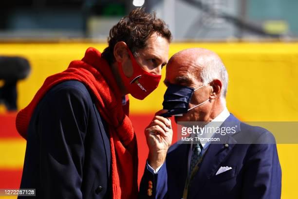 Ferrari Chairman John Elkann talks on the grid before the F1 Grand Prix of Tuscany at Mugello Circuit on September 13 2020 in Scarperia Italy