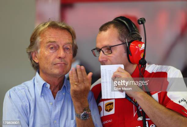 Ferrari Chairman Luca Cordero di Montezemolo talks with Ferrari Team Principal Stefano Domenicali during the final practice session before qualifying...