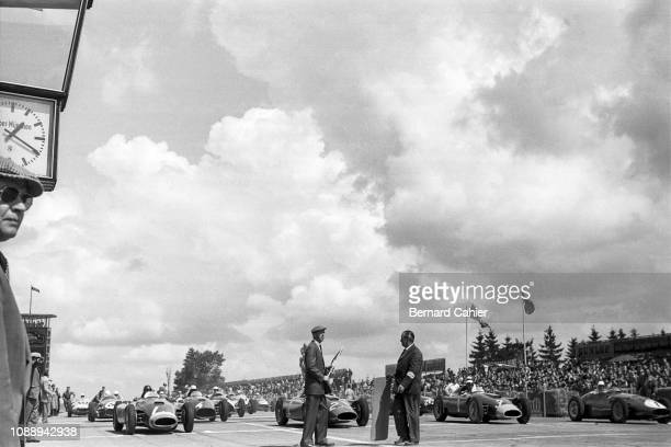 Ferrari D50, Maserati 250F, Grand Prix of Germany, Nurburgring, 05 August 1956. Start of the 1956 German Grand Prix: Juan Manuel Fangio on pole...