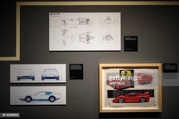 Ferrari design drawings on display at the 'Ferrari Under the Skin' exhibition at the Design Museum on November 14 2017 in London England £140M worth...