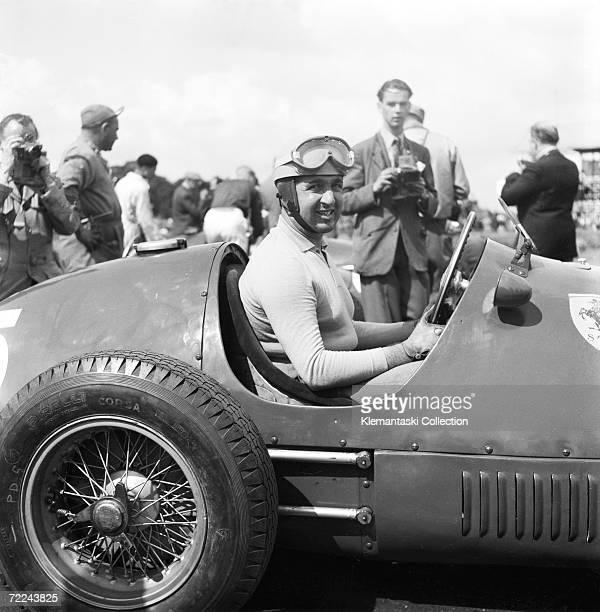 Ferrari driver Alberto Ascari on pole position before the British Grand Prix at Silverstone, 18th July 1953.
