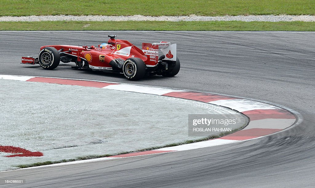 Ferrari driver Felipe Massa of Brazil takes a corner during the second practice session of the Formula One Malaysian Grand Prix at Sepang on March 22 , 2013. The Malaysian Grand Prix will take place on March 24.