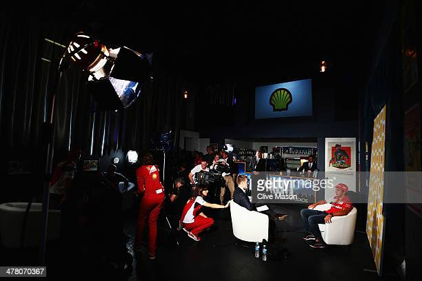 Ferrari driver Fernando Alonso is interviewed at a Shell media call at the Backlot Studio during previews to the Australian Formula One Grand Prix on...