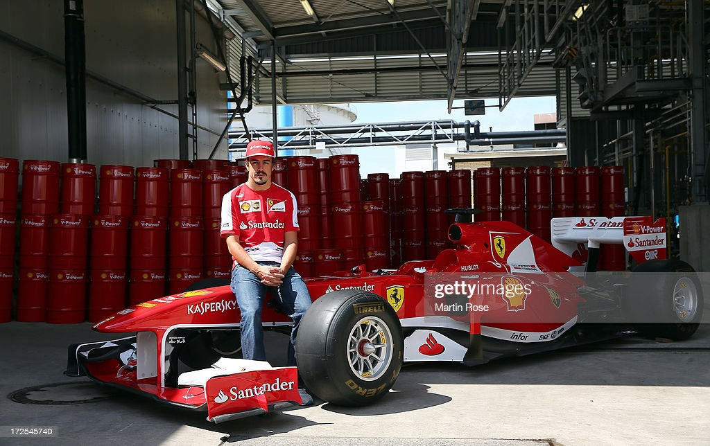 Ferrari driver Fernando Alonso of Spain visits the german shell head quarter on July 3, 2013 in Hamburg, Germany.
