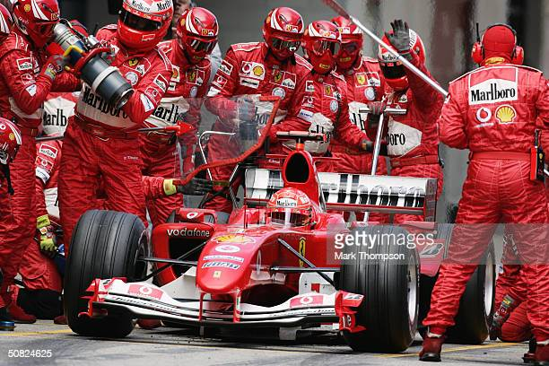 Ferrari driver Michael Schumacher of Germany comes in for a pit stop during the 2004 F1 Spanish Grand Prix on May 9 at the Circuit de Catalunya in...