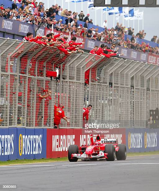 Ferrari driver Michael Schumacher of Germany crosses the line to win the 2004 F1 Australian Grand Prix held on March 7, 2004 at the Albert Park...