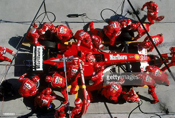 Ferrari driver Michael Schumacher of Germany in a pit stop during the Malaysian Formula One Grand Prix held on March 23 2003 at the Sepang...