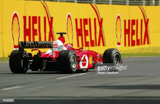 Ferrari driver Michael Schumacher of Germany in action during practice for the Fosters Australian Formula One Grand Prix held on March 7 2003 at...