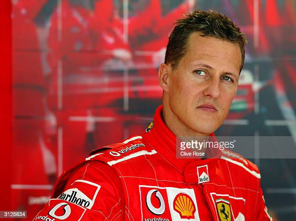 Ferrari driver Michael Schumacher of Germany prepares for the 2004 F1 Malaysian Grand Prix held on March 21 2004 at the Sepang Circuit in Kuala...
