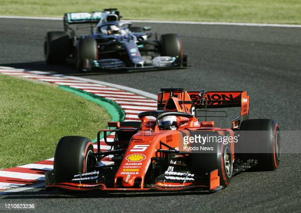 Ferrari driver Sebastian Vettel on his way to finishing second at the Formula One Japanese Grand Prix in Suzuka, Mie Prefecture, on Oct. 13, 2019.