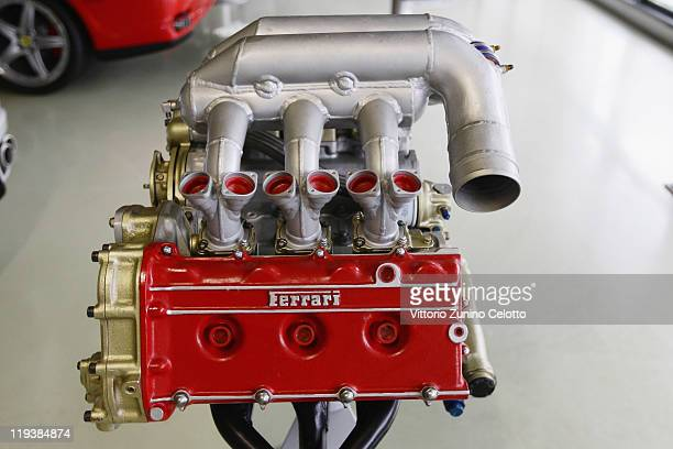 A Ferrari engine is displayed on July 19 2011 in Maranello Italy Ferrari SpA is an Italian manufacture based in Maranello and founded by Enzo Ferrari...
