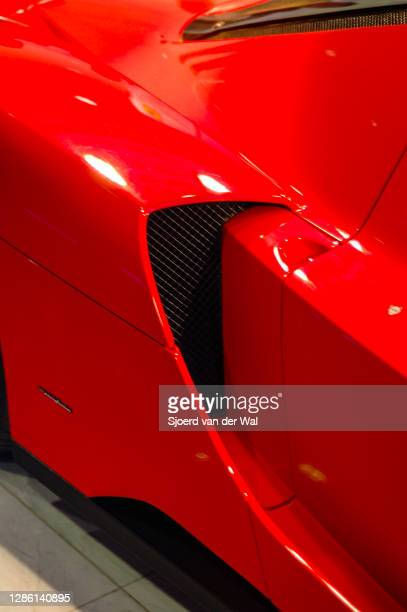 Ferrari Enzo air intake detail on display at Amsterdam motor show AutoRAI on February 19, 2005 in Amsterdam, The Netherlands.