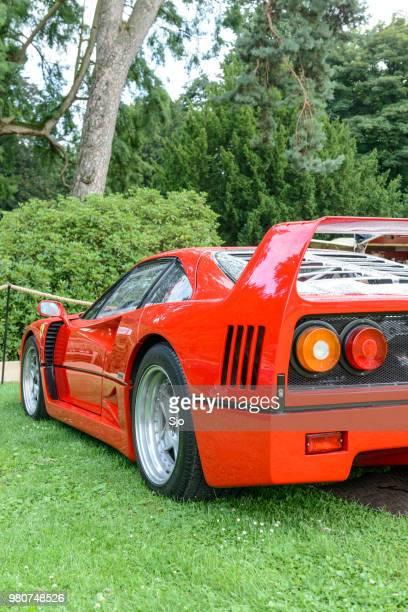 Ferrari F40 supercar of the 1980s at a classic car show