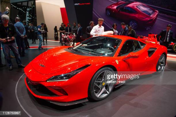 Ferrari F8 Tributo is displayed during the first press day at the 89th Geneva International Motor Show on March 5, 2019 in Geneva, Switzerland.