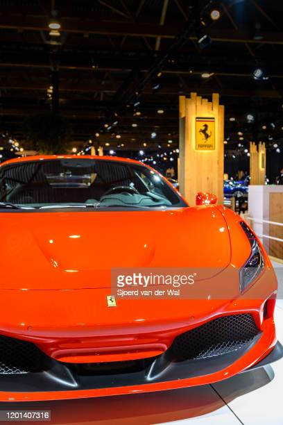 Ferrari F8 Tributo Italian midengine sports car in red on display at Brussels Expo on January 8 2020 in Brussels Belgium The F8 Tributo uses a 39 L...