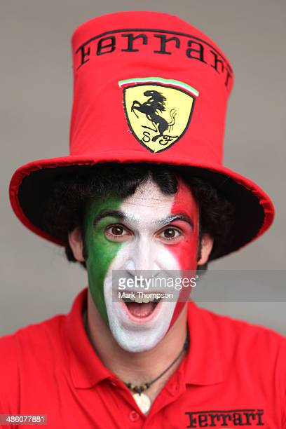 Ferrari fan cheers on his team during the Chinese Formula One Grand Prix at the Shanghai International Circuit on April 20 2014 in Shanghai China