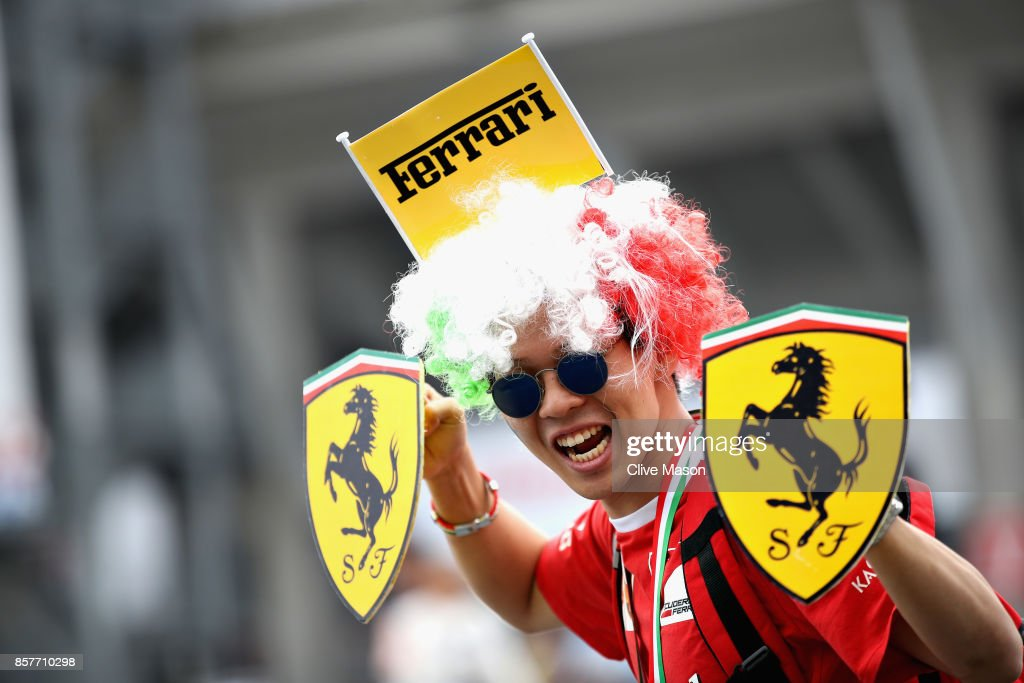 A Ferrari fan shows their support during previews ahead of the Formula One Grand Prix of Japan at Suzuka Circuit on October 5, 2017 in Suzuka.