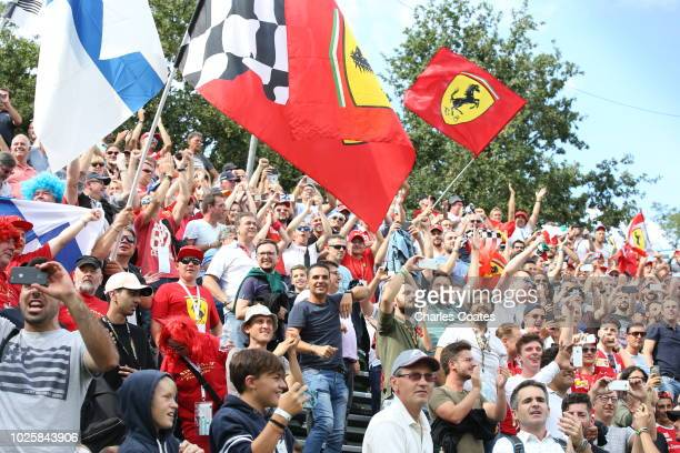 Ferrari fans watch the action during qualifying for the Formula One Grand Prix of Italy at Autodromo di Monza on September 1 2018 in Monza Italy