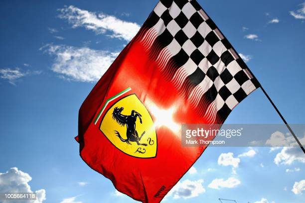 Ferrari flag flies in the paddock during previews ahead of the Formula One Grand Prix of Hungary at Hungaroring on July 26, 2018 in Budapest, Hungary.