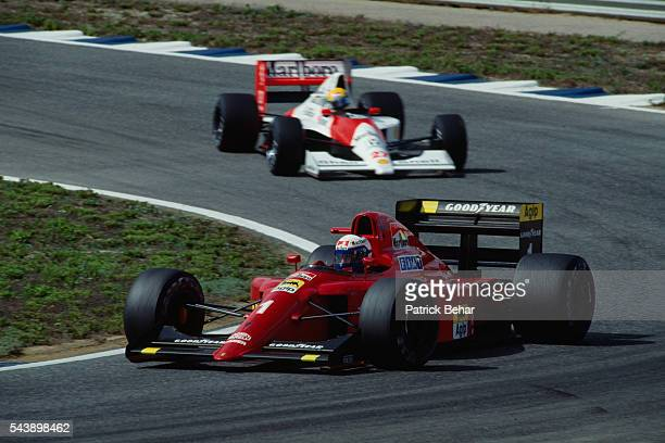 Ferrari Formula One driver Alain Prost leads McLarenHonda driver Ayrton Senna through a corner during the Spanish Grand Prix